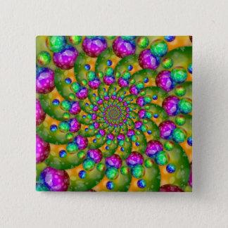 Rainbow Yellow Bokeh Fractal Art Button