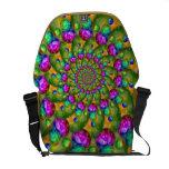 Rainbow Yellow Bokeh Fractal Art Messenger Bags
