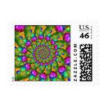Rainbow Yellow Bokeh Fractal Art Postage Stamp