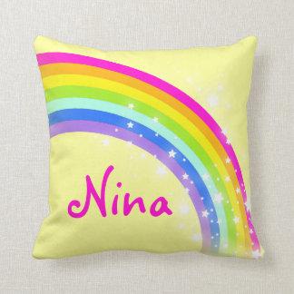 rainbow yellow girls name nina cushion pillow