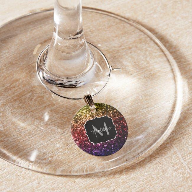 Rainbow yellow red purple sparkles Monogram Wine Glass Charm