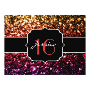 Rainbow yellow red purple sparkles 5.5x7.5 Paper Invitation Card