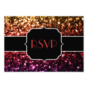 Rainbow yellow red purple sparkles RSVP 3.5x5 Paper Invitation Card