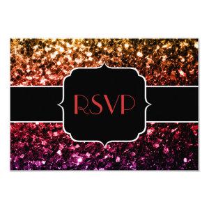Rainbow yellow red purple sparkles RSVP 3.5x5 Paper Invitation Card