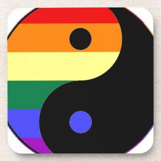 Rainbow Yin and Yang - LGBT Pride Rainbow Colors Drink Coaster