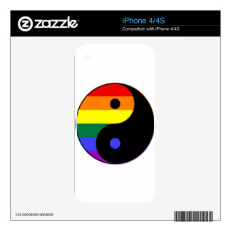 Rainbow Yin and Yang - LGBT Pride Rainbow Colors iPhone 4S Decals