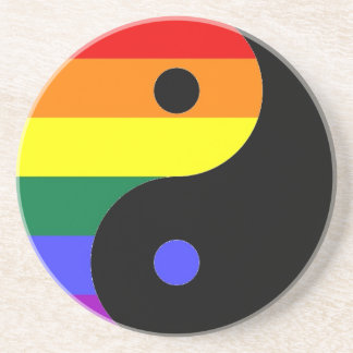Rainbow Yin and Yang - LGBT Pride Rainbow Colors Sandstone Coaster