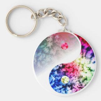 Rainbow Yin Yang Basic Round Button Keychain