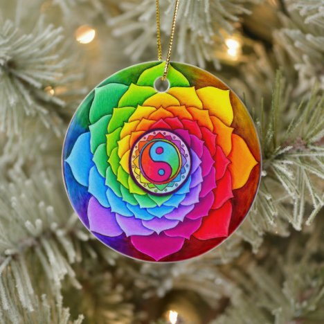 Rainbow Yin Yang Mandala Ceramic Ornament