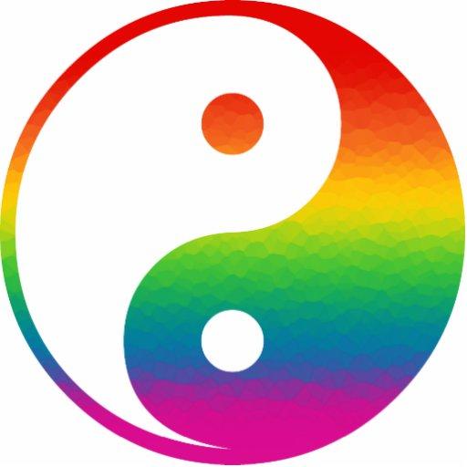 Rainbow Yin Yang Photo Sculpture Ornament