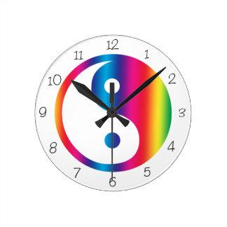 Rainbow Yin Yang Round Clock
