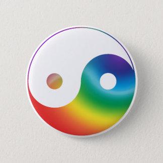 Rainbow Yin Yang Symbol Pinback Button