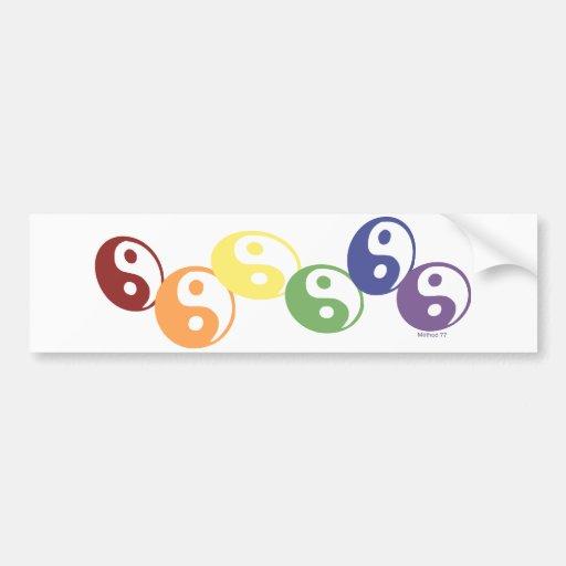 Rainbow Ying Yang Bumper Sticker