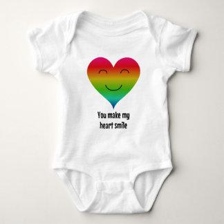 Rainbow you make my heart smile baby bodysuit