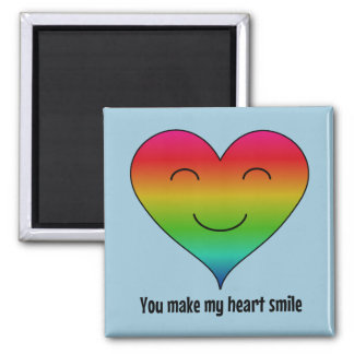 Rainbow you make my heart smile blue magnet