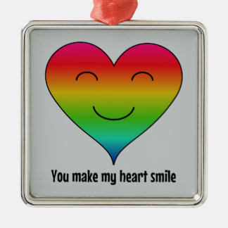 Rainbow you make my heart smile metal ornament