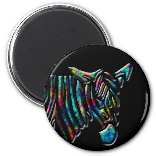 Rainbow Zebra 2 Inch Round Magnet