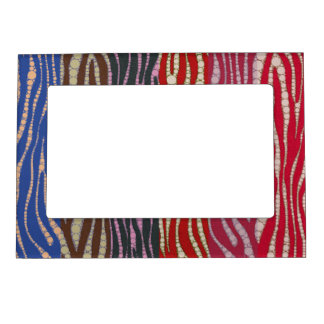 Rainbow Zebra Abstract Magnetic Picture Frame