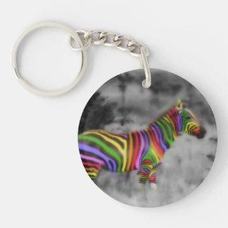 Rainbow Zebra Acrylic Key Chains