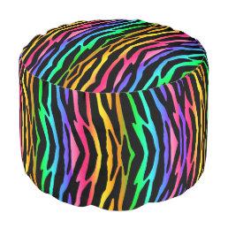 Rainbow Zebra Animal Pattern Print Teen Girl Pouf