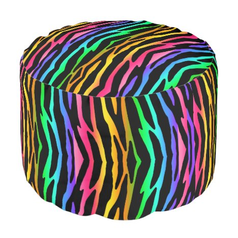 Rainbow Zebra Animal Pattern Print Teen Girl Pouf