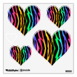 Rainbow Zebra Animal Print Stripes Teen Girl Wall Decal<br><div class='desc'>Rainbow Zebra Animal Print Stripes Teen Girl Heart Shaped Decals.</div>