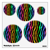 Rainbow Zebra Animal Print Wall Decal Stickers