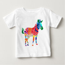 Rainbow Zebra Animals Monogrammed Pattern Party Baby T-Shirt