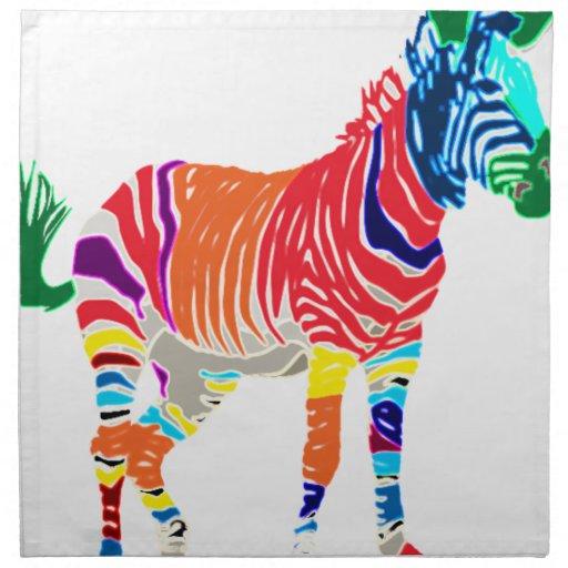 Rainbow Zebra Animals Monogrammed Pattern Party Cloth Napkin