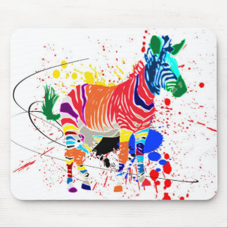 Rainbow Zebra Animals Monogrammed Pattern Party Mouse Pad