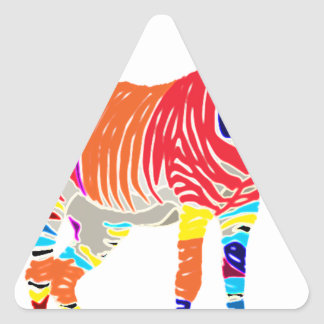 Rainbow Zebra Animals Monogrammed Pattern Party Triangle Sticker