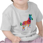 Rainbow Zebra Animals Monogrammed Pattern Party Tee Shirt