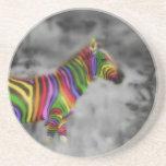 Rainbow Zebra Beverage Coaster