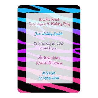 Rainbow Zebra Birthday Invitation Teen Girls Party