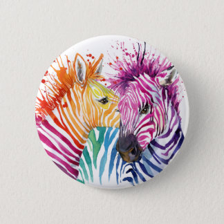 Rainbow Zebra Button
