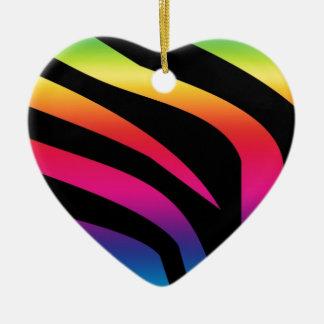 Rainbow Zebra Ceramic Ornament