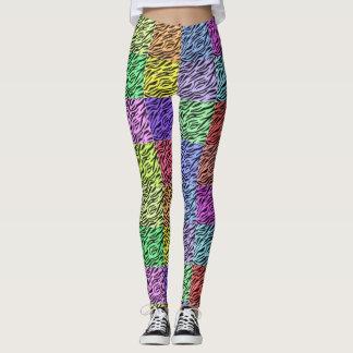 rainbow zebra EDM colors coachella concert fest Leggings