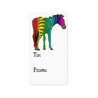 rainbow zebra label
