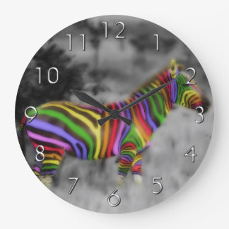 Rainbow Zebra Large Clock