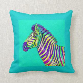 rainbow zebra on aqua throw pillow