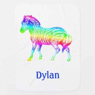 Rainbow Zebra Personalized Baby Blanket
