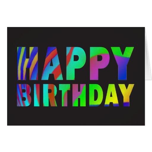 Rainbow Zebra Print Birthday Card