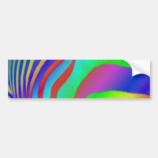 Rainbow Zebra Print Car Bumper Sticker