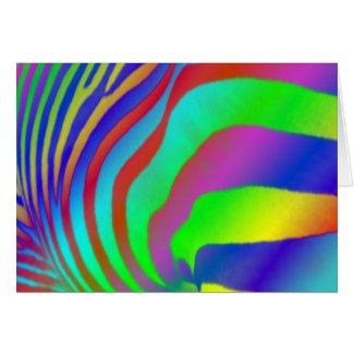 Rainbow Zebra Print card