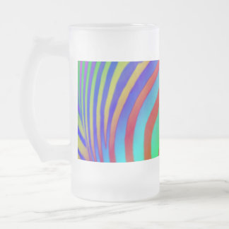 Rainbow Zebra Print Frosted Glass Frosted Glass Beer Mug