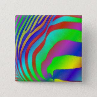Rainbow Zebra Print Pinback Button