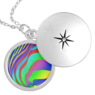 Rainbow Zebra Print Round Locket Necklace