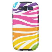 Rainbow Zebra Print Samsung Galaxy SIII Cases