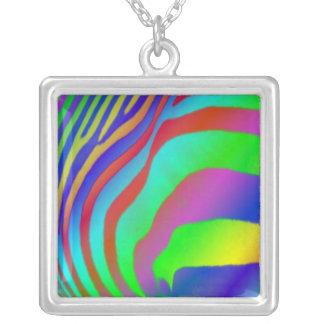 Rainbow Zebra Print Square Pendant Necklace