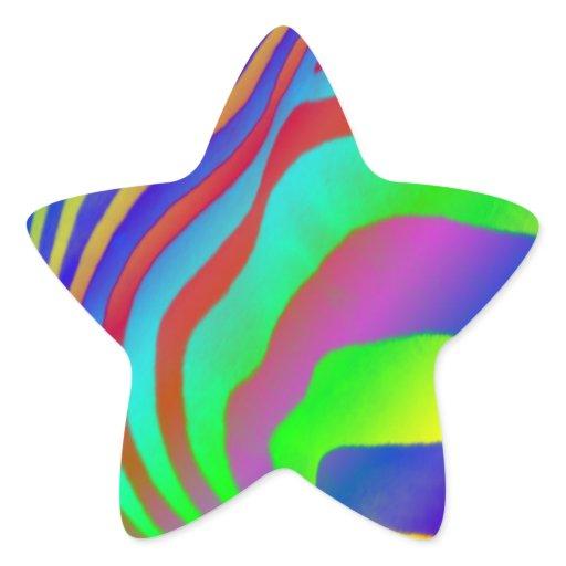 rainbow zebra print star stickers
